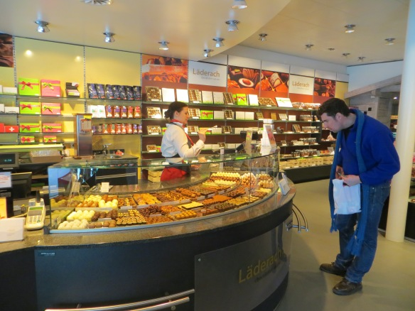 The difficult task of choosing from all the wonderful swiss chocolate.