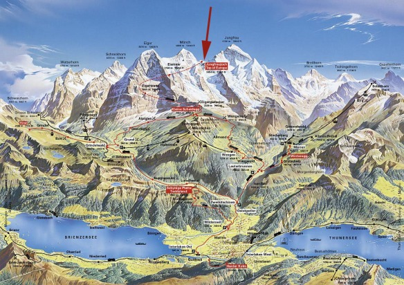 The Jungfrau Region.  Interlake is in the valley between the lakes.