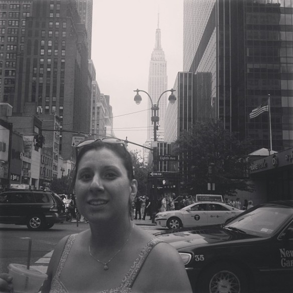 Back in my city with my Starbucks Iced Coffee and the Empire State Building in the background