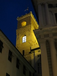 Medieval Genoa lit beautifully at night