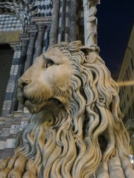 The lions outside this cathedral remind me of Patience and Fortitude (the lions outside the NY Public Library) but their expressions are sweeter and softer