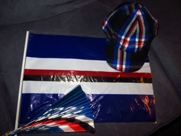 Sampdoria Swag.  Not pictured, the snack. (Banana, biscuits, peach juice).