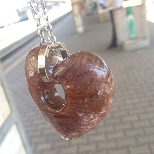 "My 10th grade students were so sad I was leaving. They wrote a sweet card, thanking me for ""Being the Best English Teacher We Ever Had"" and gave me this gorgeous Murano Glass Heart necklace. So touched!"