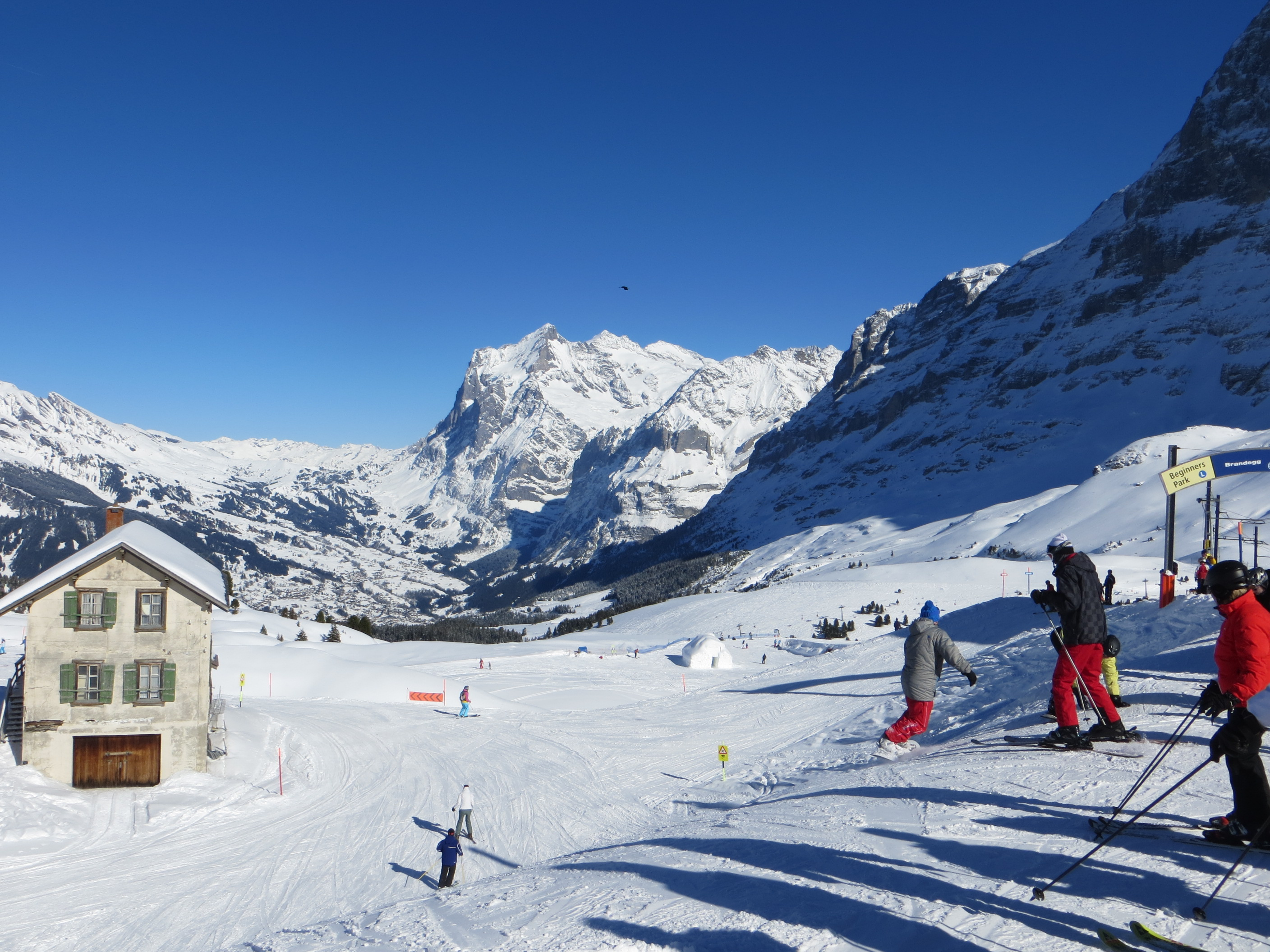 Alpine ski resorts plagued by lack of snow - Kleine Sheidegg Feb 2014